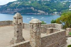 Aragonese的内部细节防御,坐骨海岛 免版税图库摄影