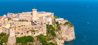 Aragonese-Angevine Castle, Gaeta, Italy. Aragonese-Angevine Castle on the cliff in old town of Gaeta, Italy. Panoramic photo, bird eye view Royalty Free Stock Photo