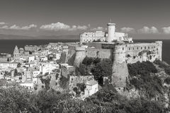 Aragonese-Angevine Castle in old town of Gaeta. Italy. Monochrome photo Stock Photo