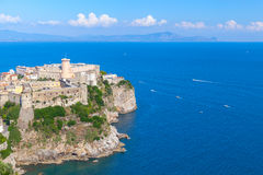 Aragonese-Angevine Castle stands on rocky cliff. In old town of Gaeta, Italy Stock Photo