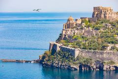 Aragonese Castle is most visited landmark near Ischia island, It. Aragonese Castle or Castello Aragonese is most visited landmark and tourist destination near Stock Images