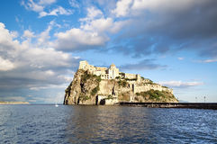 Aragonese castle in sunset light, Ischia island - Italy Stock Photos