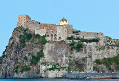 Aragonese Castle in Ischia island by night Royalty Free Stock Photo