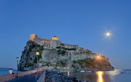 Aragonese Castle in Ischia island by night Royalty Free Stock Photos