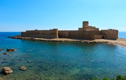Aragonese castle of Le Castella, Calabria, Italy. Aragonese castle of Le Castella, a fortress on a small islet on Ionian Sea coast, overlooking the Costa dei Royalty Free Stock Images