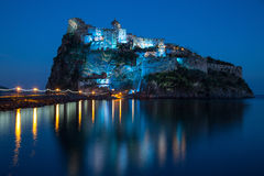 Aragonese castle in the night. December Royalty Free Stock Photos
