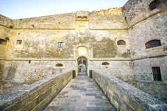 Aragonese castle in Otranto, Apulia, Italy. Entrance to medieval, Aragonese castle in Otranto, Apulia, Italy Royalty Free Stock Images