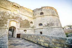 Aragonese castle in Otranto, Apulia, Italy. Entrance to medieval, Aragonese castle in Otranto, Apulia, Italy Royalty Free Stock Photo