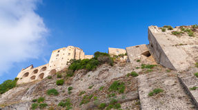 Aragonese Castle on the rock, Ischia island, Italy. Mediterranean Sea coast Royalty Free Stock Images