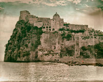 Aragonese Castle to Ischia, vintage style Stock Images