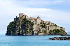 Aragonese Castle. View on Castello Aragonese from Ischia Ponte, Italy Royalty Free Stock Photos