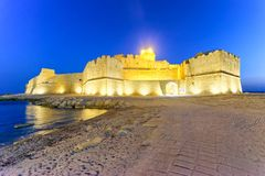 Aragonese Fortress in Calbria on a beautiful summer night, Italy Stock Image