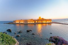 Aragonese Fortress in Calbria on a beautiful summer night, Italy.  Stock Photo