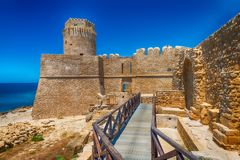 Aragonese Fortress in Calbria on a beautiful sunny day, Italy Royalty Free Stock Photos