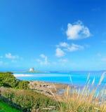 Aragonese tower in La Pelosa beach. Sardinia Stock Images