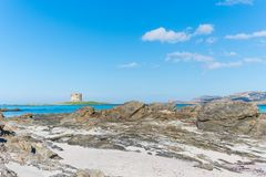 Aragonese tower in La Pelosa. Beach, Stintino Royalty Free Stock Photos
