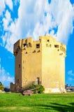 Aragonese tower in Porto Torres harbour in a sunny day - Sardinia. Italy, platamona, sea, asinara, gulf, beach, blu, calm, coast, coastal, holiday, inshore royalty free stock photo