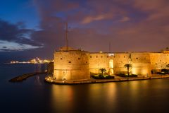 Aragonian Castle On The Sea Of The Taranto Canal Boat Illuminate. D By Christmas Lights At Night During The Christmas Period Royalty Free Stock Image