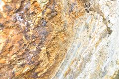 Aragonite Wall in Nature, Raw material. Aragonite carbonate mineral Wall in Nature, Raw material, to the biggest deposit in Europe, in Corund, Romania Royalty Free Stock Photos