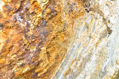 Aragonite Wall in Nature, Raw material. Aragonite carbonate mineral Wall in Nature, Raw material, to the biggest deposit in Europe, in Corund, Romania Stock Photos