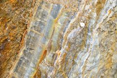 Aragonite Wall in Nature, Raw material. Aragonite & x28;carbonate mineral& x29; Wall in Nature, Raw material, to the biggest deposit in Europe, in Corund Stock Image