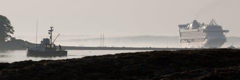 Aragosta-barche e navi da crociera Fotografia Stock Libera da Diritti