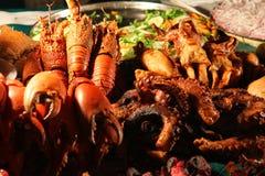 Aragosta & calamaro del BBQ Fotografia Stock