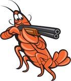 Aragosta del gambero che tende il fumetto del fucile da caccia Fotografia Stock Libera da Diritti