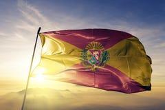 Aragua State of Venezuela flag textile cloth fabric waving on the top sunrise mist fog. Beautiful vector illustration
