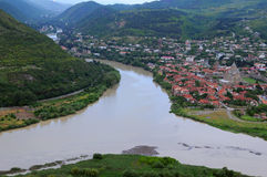 Aragvi和库纳河河的看法 库存图片