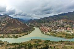 Aragvi and Kura, Mzcheta, Georgia. The view to Mzheta, Geirgia. Here the rivers Aragvi and Kura flowed together Stock Images