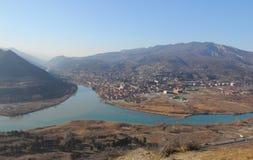 Aragvi and Kura rivers near Mtskheta, Georgia. The view from Jvari monastery to Mtskheta and Aragvi and Kura rivers Royalty Free Stock Photography