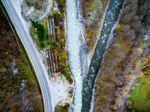 Aragvi river confluence in Georgia, top view Stock Photography