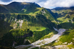 Aragvi river valley in Caucasus mountains. Above view of Aragvi river valley near Cross Pass in Caucasus mountains in Georgia Stock Photos