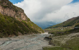 Aragvi River Valley. Mountain landscape - valley of the river Aragvi spring. Georgia Stock Photo