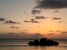 Araha beach sunset okinawa beach summer. Okinawa Araha sunset beach view royalty free stock photo