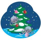 Araignées avec un arbre de Noël Image stock