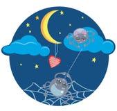 Araignées et coeur sous la lune Images libres de droits