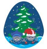 Araignées sous l'arbre de Noël Image libre de droits