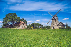 Araisi, Latvia, 2015, Nature and mill view. Nature, mill and history. It`s a travel photo, when I walk around city stock image