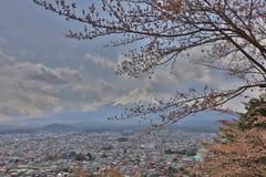 Arakura Sengen Shrine Chureito pagoda. View of fuji mountain from step up way  to Arakura Sengen Royalty Free Stock Photo