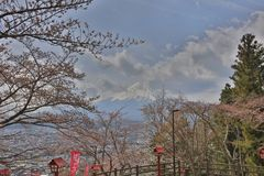 Arakura Sengen Shrine Chureito pagoda. View of fuji mountain from step up way  to Arakura Sengen Stock Images