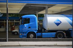 Aral fuel tanker. At an Aral fuel station - for editorials about fuel, prices and everything gasoline related Stock Photo