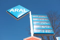 Aral gas prices Royalty Free Stock Photos