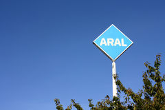 Aral gas station. Bilboard against blue sky Stock Images