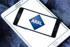 Aral oil company logo. Logo of Aral oil company on samsung mobile on samsung tablet. Aral is a brand of automobile fuels and petrol stations, present in Germany Royalty Free Stock Photos