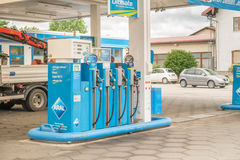 Aral pump. In a gas station with copy space to the right stock image