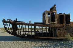 Aral sea. Ruins on the bottom of Aral see Royalty Free Stock Photo