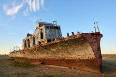 Abandoned ships Aral Sea. The Aral Sea is a formerly un salt lake in Central Asia. The Aral Sea was an endorheic lake lying between Kazakhstan in the north and Royalty Free Stock Photography