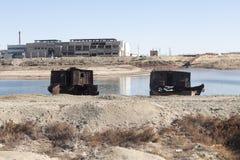 Aral Sea - kazakhstan. Wrecks of old abnadoned ships, Aral Sea Royalty Free Stock Photography